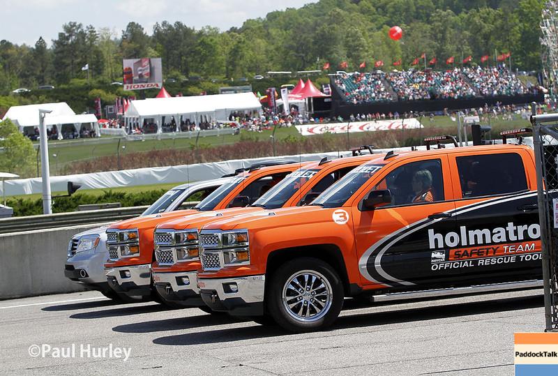 April 26: Safety trucks before the Honda Indy Grand Prix of Alabama.