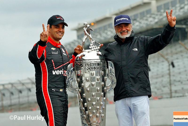 May 24: Juan Pablo Montoya and his father, Juan Montoya, after the 99th Indianapolis 500.