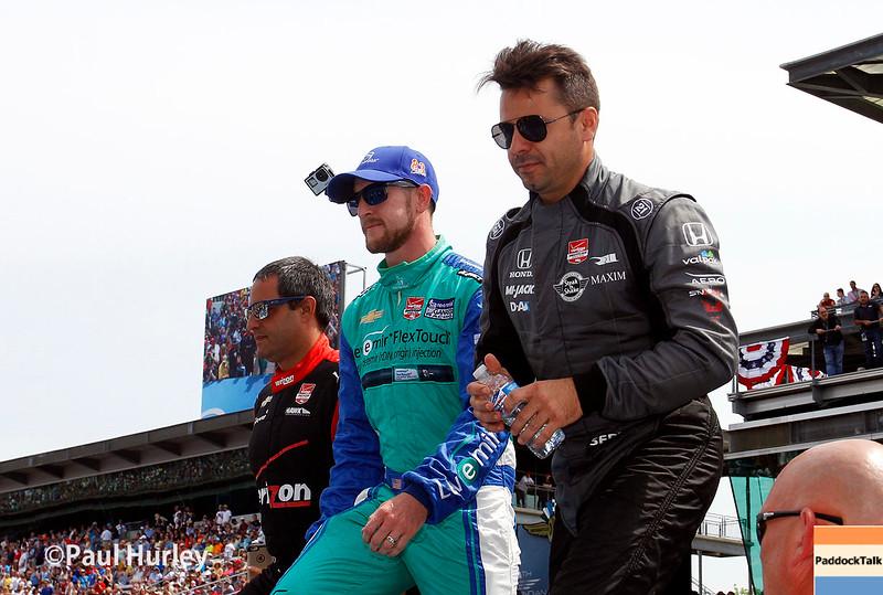 May 24: Juan Pablo Montoya, Charlie Kimball and Oriol Servia before the 99th Indianapolis 500.