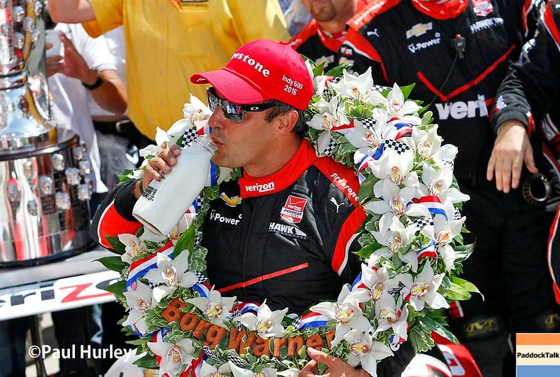 May 24: Juan Pablo Montoya after winning the 99th Indianapolis 500.