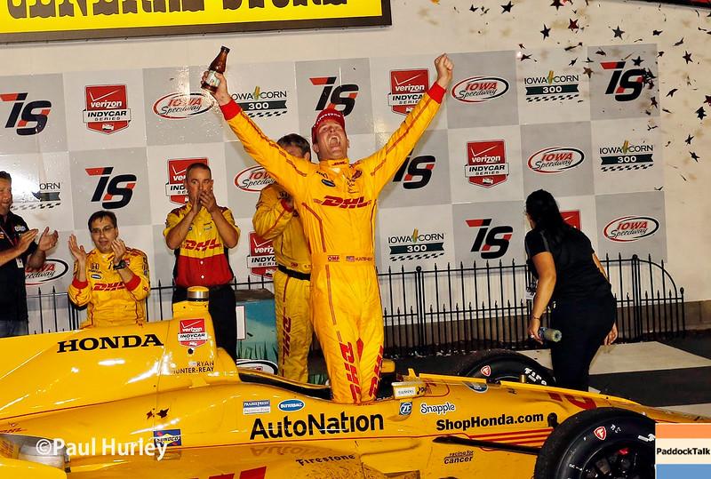 July 17-18: Ryan Hunter-Reay wins the Iowa Corn 300.