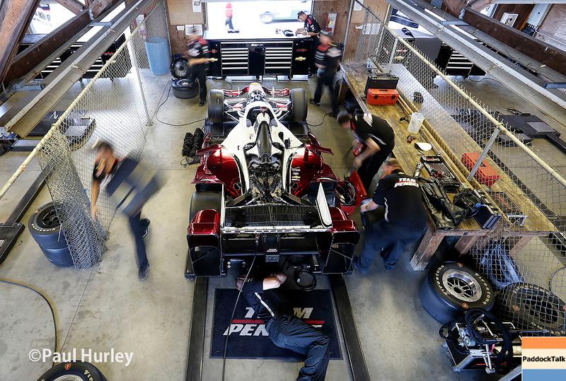 August 1-2: Juan Pablo Montoya's garage at the Honda Indy 200 at Mid-Ohio.