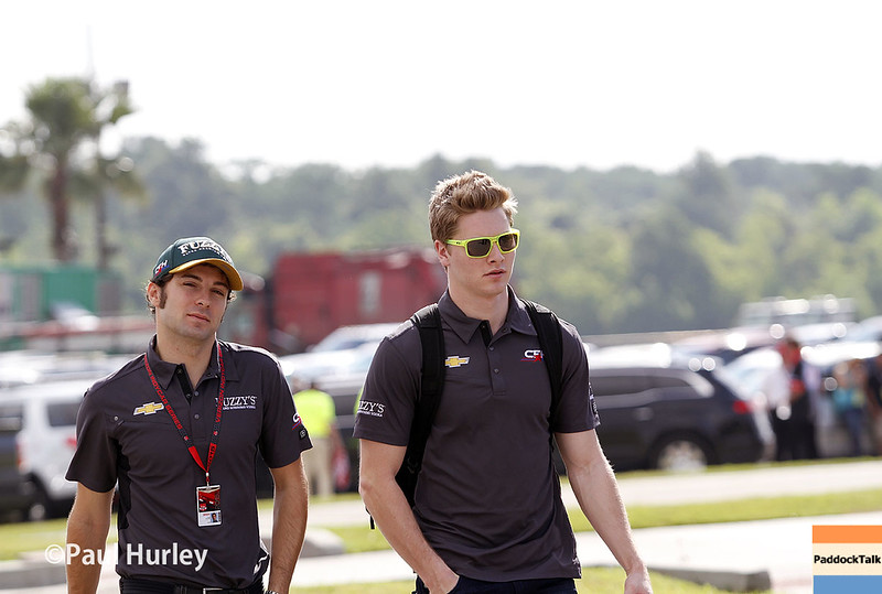 April 10: Luca Filippi and Josef Newgarden during practice for the Indy Grand Prix of Louisiana.