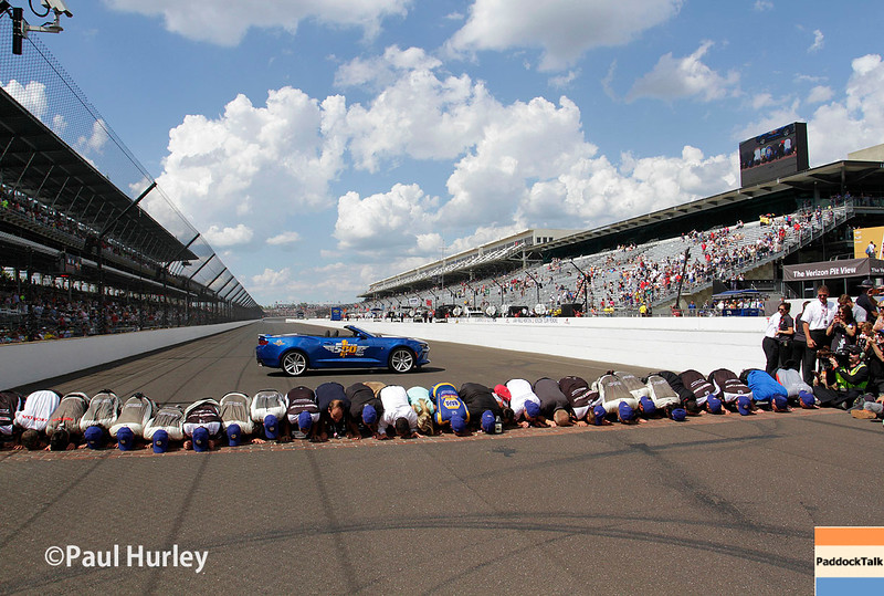 May 29: Alexander Rossi and crew after the 100th Running of the Indianapolis 500.