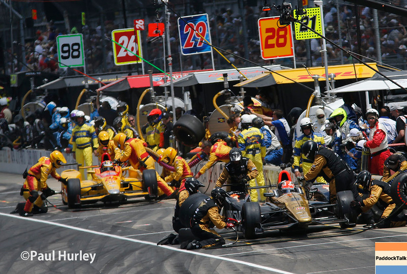 May 29: Pit action during the 100th Running of the Indianapolis 500.