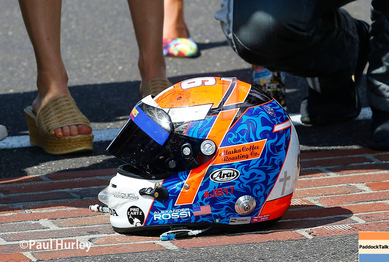 May 29: Alexander Rossi's helmet after the 100th Running of the Indianapolis 500.