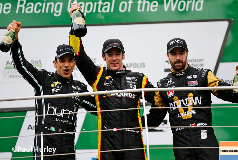May 13-14: Helio Castroneves, Simon Pagenaud and James Hinchcliffe at the Angie's List Grand Prix of Indianapolis.