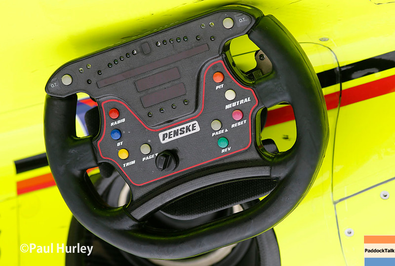 May 13-14: Simon Pagenaud's steering wheel at the Angie's List Grand Prix of Indianapolis.