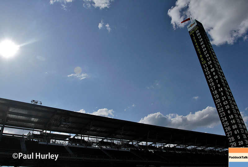 May 16-20: The stands and the scoring pylon during practice for the 100th running of the Indianapolis 500.