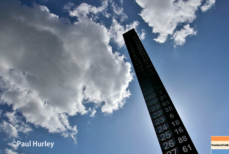 May 16-20: The scoring pylon during practice for the 100th running of the Indianapolis 500.