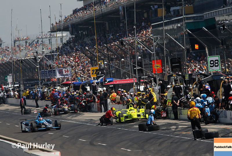 May 27: Pit action during Carb Day for the 100th Running of the Indianapolis 500.