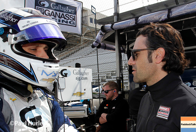 May 21-22:  Max Chilton and Dario Franchitti during qualifications for the 100th running of the Indianapolis 500.
