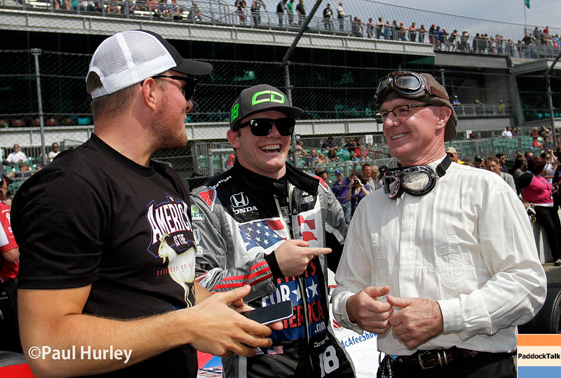 May 21-22:  Pat McAfee, Conor Daly and Derek Daly during qualifications for the 100th running of the Indianapolis 500.