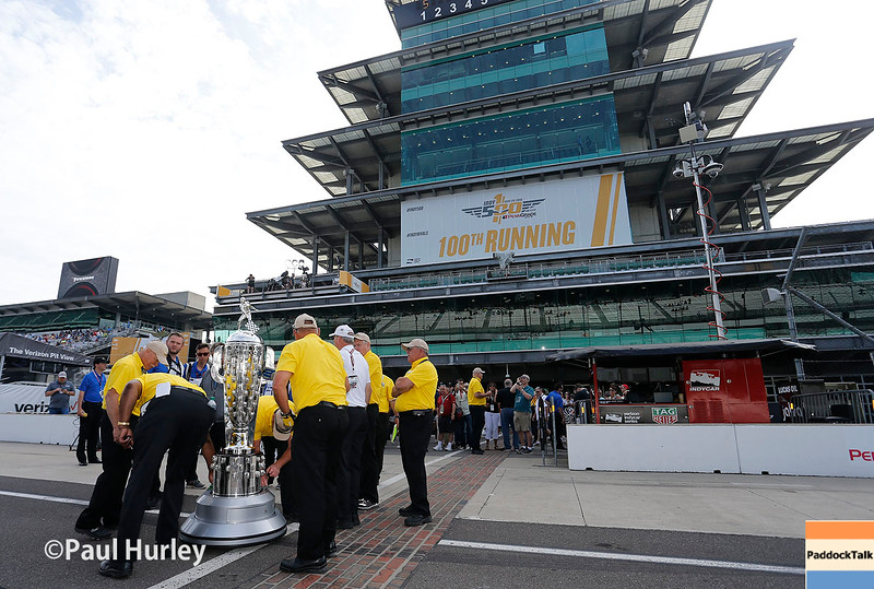 May 27: The Borg-Warner Trophy during Carb Day for the 100th Running of the Indianapolis 500.