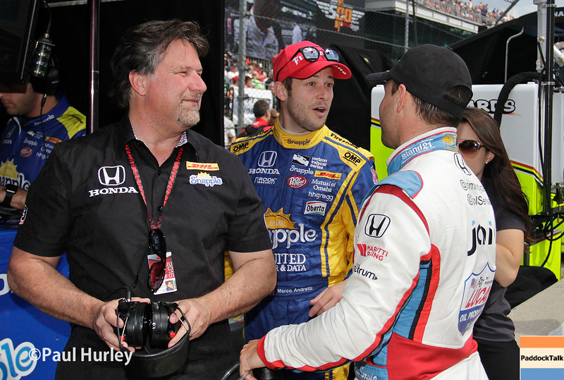 May 21-22: Michael Andretti, Marco Andretti and Oriol Servia during qualifications for the 100th running of the Indianapolis 500.