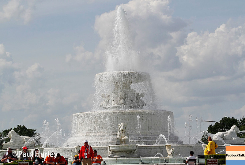 June 3-4: The fountain at the Chevrolet Detroit Grand Prix Presented by Lear.