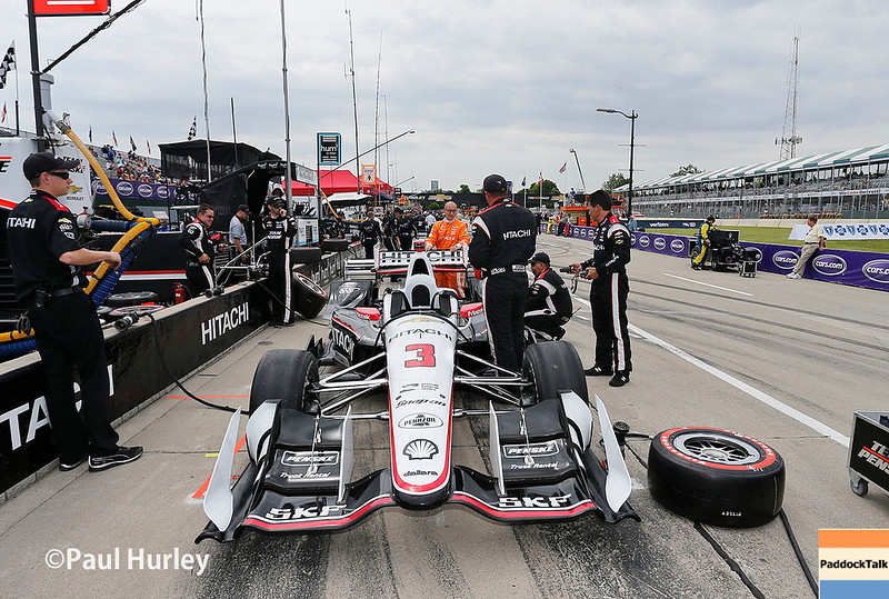 June 3-4: Helio Castroneves' pit at the Chevrolet Detroit Grand Prix Presented by Lear.
