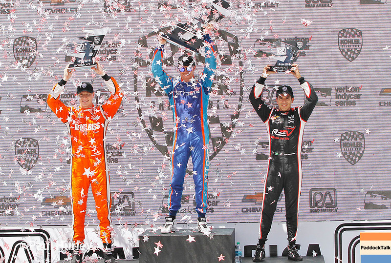 June 24-25: Victory podium at the Kohler Grand Prix of Road America.