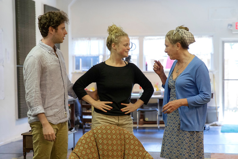 Patrick Foley, Kelsey Jenison, middle, and Carol Halstead rehearse, Noise Off, Chautauqua Theater Company's first production of the season on Saturday, June 24, 2017 in Studio A. PAULA OSPINA / STAFF PHOTOGRAPHER