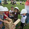 From left to right: Pippa Frey, 3, Kai Bonano, 3, MJ Krause, 3, Phoebe Powell, 3 and Emily Jacobs, 3 from the Children's School participate in the STEAM truck event on Thursday, Jan 29, 2017 in Miller Bell Tower. PAULA OSPINA / STAFF PHOTOGRAPHER