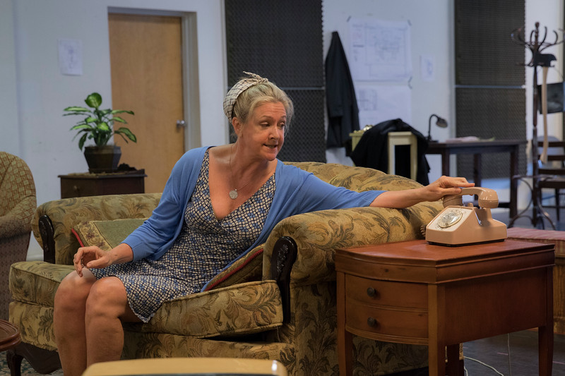 Carol Halstead, a guest artist, who is playing Dotty hangs up the phone during a regular rehearsal of Noises Off, Chautauqua Theater Company's first production of the season on Saturday, June 24, 2017 in Studio A. PAULA OSPINA / STAFF PHOTOGRAPHER