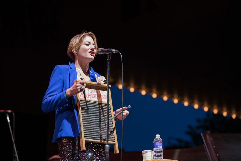 Lead singer of the Hot Sardines Miz Elizabeth plays the washboard on Tuesday, June 27, 2017 in the Amphitheater.  PAULA OSPINA / STAFF PHOTOGRAPHER