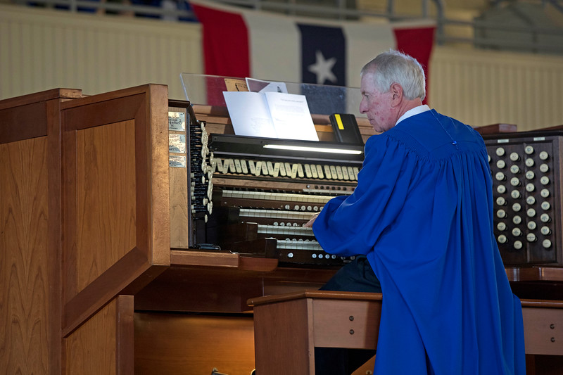 "Director and organist Jared Jacobsen, plays ""hymn: Day is Dying in the West""  on Sunday, July 2, 2017 in the Amphitheater during the Sacred Song Service. PAULA OSPINA / STAFF PHOTOGRAPHER"