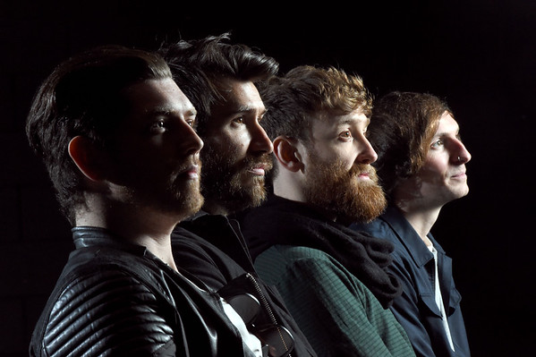 Twin Atlantic exclusive photo-shoot at the Hydro in Glasgow ahead of their concert next month.Sam McTrusty (lead vocals, rhythm guitar), Barry McKenna (lead guitar, cello, backing vocals), Ross McNae (bass guitar, piano, backing vocals) and Craig Kneale (drums, percussion, backing vocals) Picture by Paul Chappells 07/04/15.