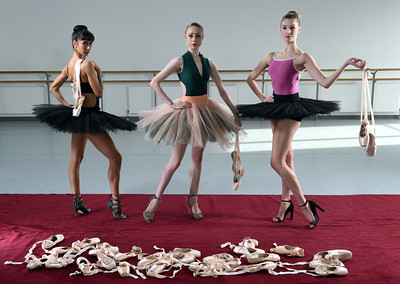 Scottish ballet dancers  Nathalie Dupouy, Melissa Parsons and Aisling Branagan .