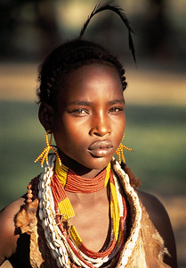 Picture Paul Chappells, Ethiopian tribeswoman, tribe, tribal, omo valley, traditional dress, female.