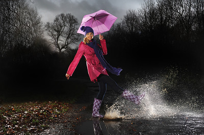 Pic Paul Chappells..Rain fashion...model Emma, make-up Haddow, stylist Julie Hannah.