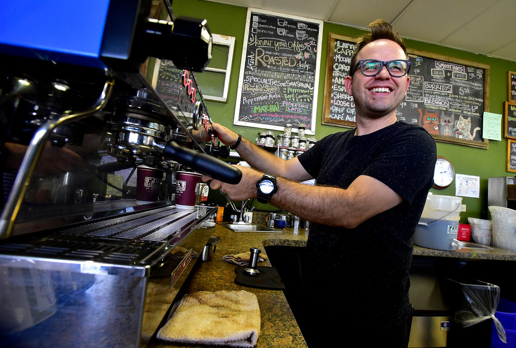 . BEST BEST BEST  BOULDER, CO OCTOBER 17 2018 Ryan Creager laughs with a customer as he makes drinks at Paul\'s Coffee & Tea in Louisville on Wednesday afternoon.   For more photos go to dailycamera.com (Photo by Paul Aiken/Staff Photographer)
