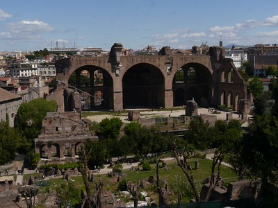 The Basilica of Maxentius/Constantine. aka, Basilica Nova. Largest basilica in Rome. Marvel of Roman architectural engineering... still fell down.