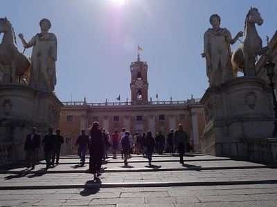 Statues of Castor and Pollux on the Capitoline Hill.