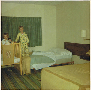 1965 - My sister Nancy and me at a hotel