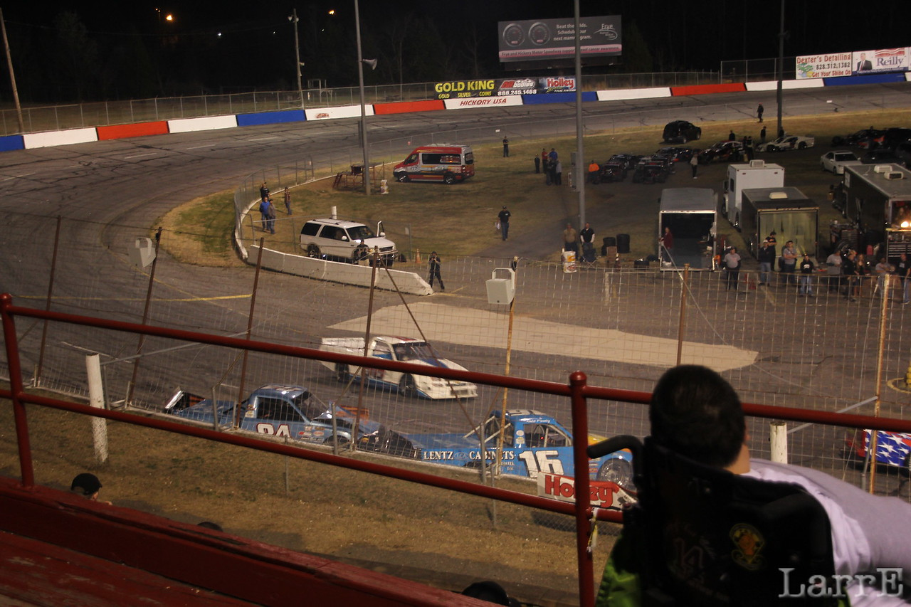 trucks pile up in turn four.