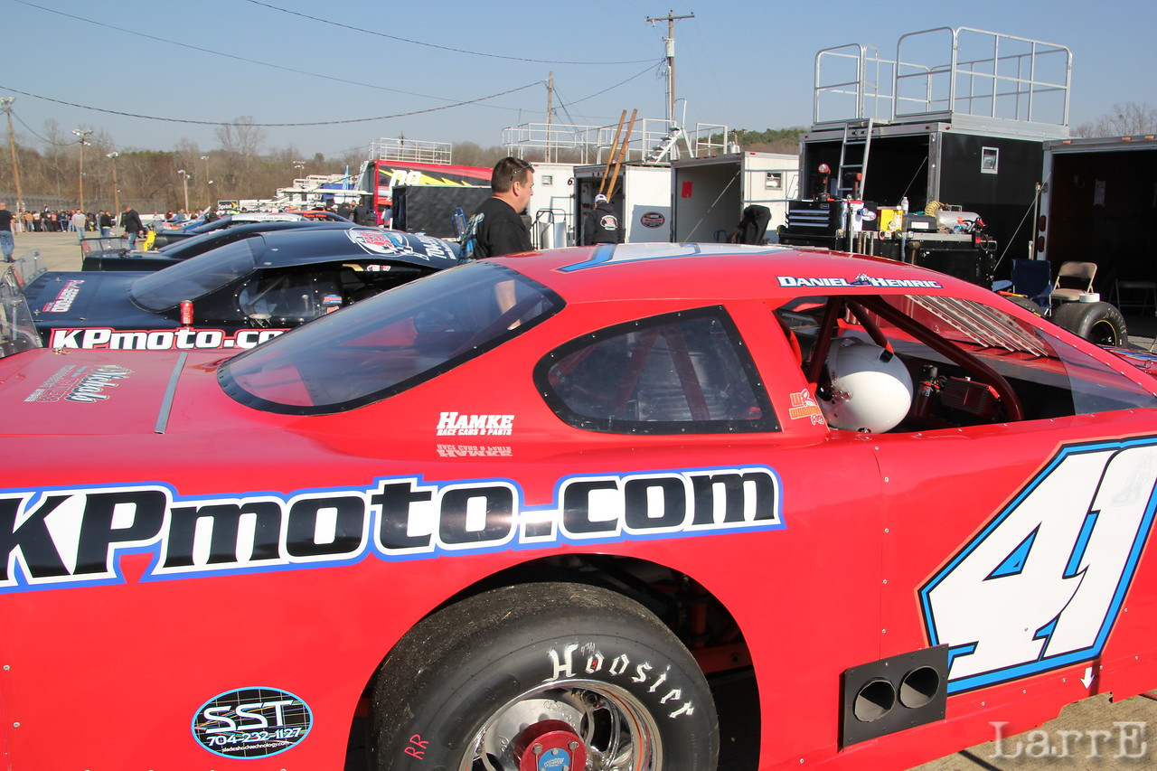 Daniel Hemric won the PASS race at Greenville-Pickens Speedway.
