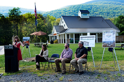 Tania Barricklo-Daily Freeman                       NYS DEC Deputy Commissioner of Natural Resources Kathy Moser speaks at a  ground breaking ceremony for a new pavilion at the Maurice D. Hinchey Catskill Interpretive Center in Mt. Tremper Monday afternoon. Joining her to the right are DEC Regional Director Kelly Turturro, Executive Director for Catskill Center for Conservation and Development Jeff Senterman and Shandaken Town Supervisor Robert Stanley.