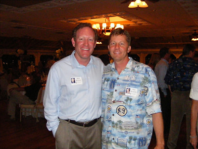 Dr. Bob Bernatz with patient Bill Beamish.  Classmate Bob is now a Corporate Psycologist and practices in Irvine.  Bill is currently obsessed with days of youth and Bob is doing his best to get Bill to grow up.