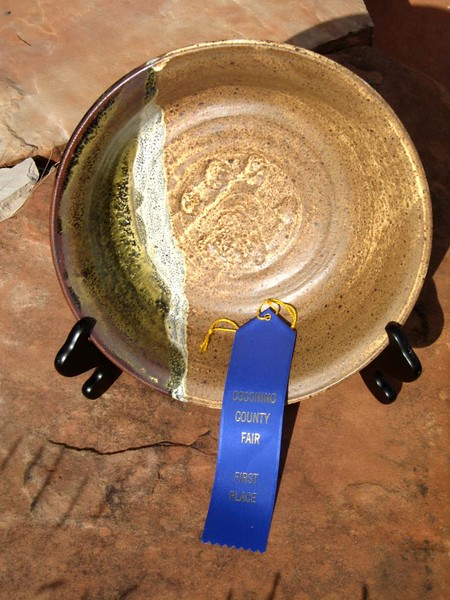 1st Place, Coconino County Fair<br /> Birdmat over Temuko and Celedon glazes<br /> 11.75 x 3.25 inches<br /> 2009
