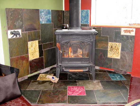 Track Tiles around woodstove