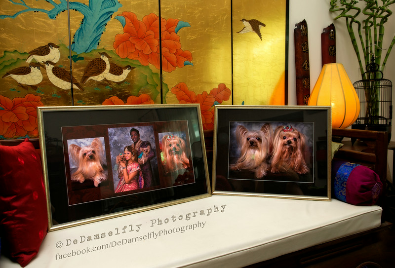 Two heirloom pieces worthy of any living room. One large family montage and another of the furkids printed on Fine Art Paper, archival framing with a simple acid-free black border and classic gilt wood frame.<br /> <br /> All our fine art prints are matted ie surrounded by a border. The purpose of matting is to separate the artwork from the glass covering it. The mat allows for expansion and contraction of the paper artwork caused by changes in temperature and humidity. The mat-board used is 100% acid-free museum board. The backing behind our prints are also be acid-free archival quality museum board, never cheap plywood. The back of our framed pieces are protected and sealed using acid-free archival tape.