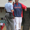 ... hitting coach Gerald Perry had something to say about it. He was actually ejected while still in the dugout--so he came out to get his money's worth.