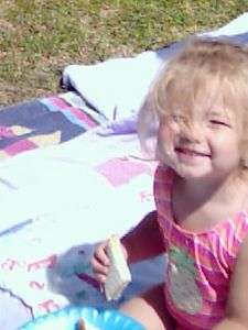 "Leah, July, 2004...MT ""beach"" scene on the front yard"