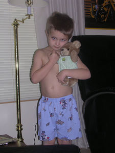 Justin, with his bear in one of the new onesies