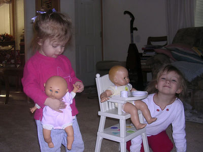 the little girls and their babies