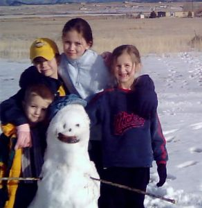 closer picture of everyone with the Snow Girl