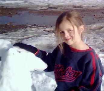 Heather, with her creation, the Snow Penguin.