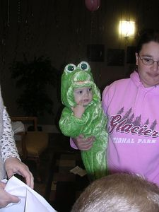 Kaleb Orr, the frog-bug baby, and mom, Stacy Orr