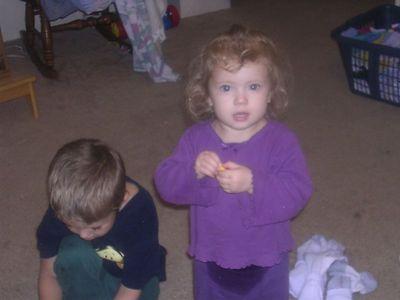 """Katherine """"helping"""" Justin fold laundry"""